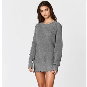 Oversized shredded edge crew neck sweater